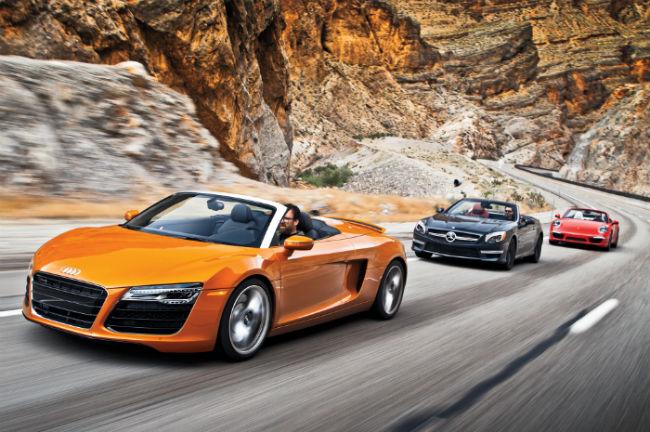 مقایسه مرسدس بنز SL63 AMG, پورشه 911 ، آئودی R8 SPYDER