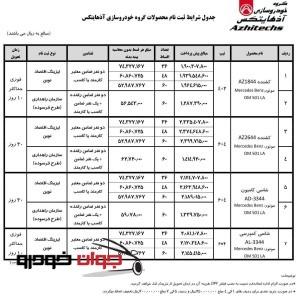 فروش و ثبت نام محصولات گروه خودروسازی آذهایتکس(خرداد96)