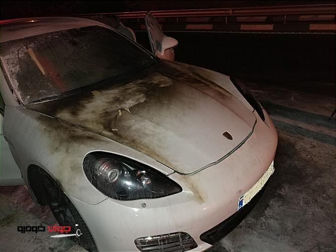 آتش گرفتن پورشه پانامرا تهران-1