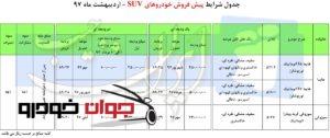 پیش فروش شاسی بلندهای ایران خودرو (اردیبهشت 97)