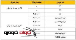 شرایط فروش نقدی محصولات سایپا (ویژه عید فطر) + تخفیف