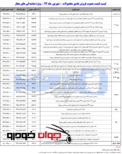 لیست قیمت محصولات ایران خودرو- شهریور 97