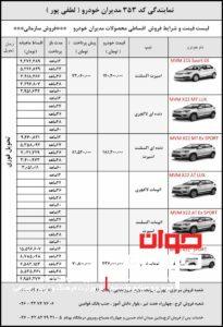 جدول شرایط فروش محصولات مدیران خودرو(ویژه سازمان ها)-نمایندگی لطفی پور