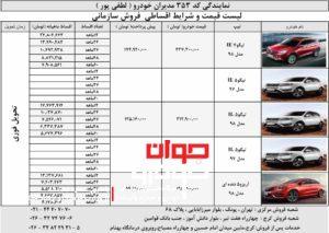 جدول شرایط فروش محصولات چری(ویژه سازمان ها)-نمایندگی لطفی پور