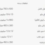 قیمت لوازم یدکی 620 (1)